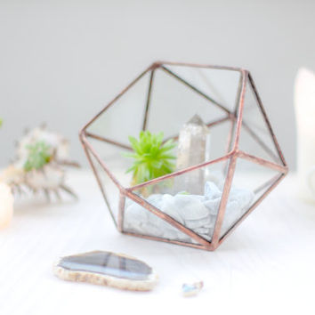 Mini Icosahedron Geometric Terrarium / Handmade Glass Succulent Planter / Rings Holder / Wedding Ring Box / Ring Bearer / Rings Glass Box