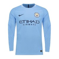 KUYOU Manchester City 17/18 Home Men Long Sleeve Soccer Jersey Personalized Name and Number