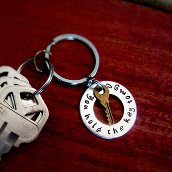 Fast Shipping Gift for Husband boyfriend Key Chain You Hold the Key to my Heart Hand Stamped Gift for husband boyfriend significant other