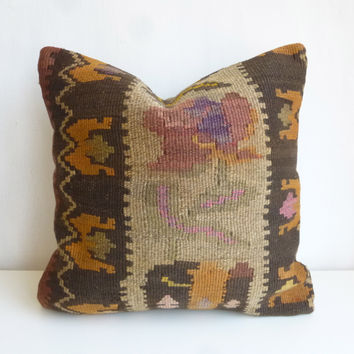 Brown Kilim Pillow Cover with earth tone colors