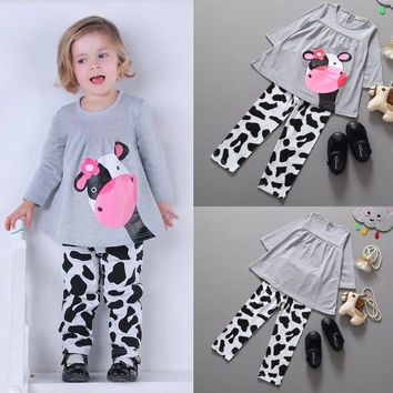 Cute Baby Girls Autumn Clothes Sets Long-sleeved T-shirt+Pants Tracksuit Cow Girl Cotton Children Suit Winter Kids Clothing Set