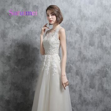 Real Photo Bridesmaid Dresses High Quality Tulle O Neck Sheer Illusion See Through Back Ivory Long Brides Maid Dresses Vestidos