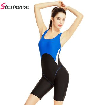 New Arrival Female Patchwork Swimsuit Sports Beachwear One piece Bathing suit Quick Dry Competition Bodysuit Racing Swimwear