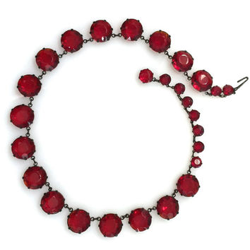 Art Deco Faceted Ruby Red Glass Necklace, Open Back, Bezel, Crystal Necklace