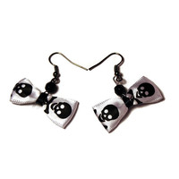 Bow Earrings - Alternative, Goth, Psychobilly Jewelry - Skull and Crossbones, Cute and Creepy - Black, White Satin Ribbon