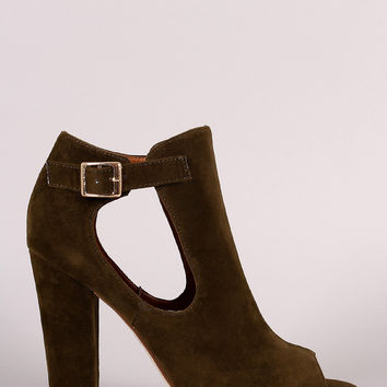 Shoe Republic LA Side Cutout Buckle Booties