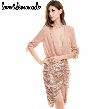 V - Neck Sequined Dress Nude