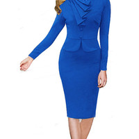 Blue Ruffled Button Detail Pencil Midi Dress