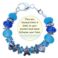 Seaside Memories Bracelet Starfish and Seashell Charms Ocean Blues Glass Beads 8 inch Chain In Gift Box