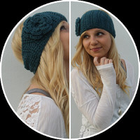 Crochet Flower Ear Warmer Headband in Teal