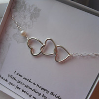 Maid of Honor Gift, Silver Hearts Bracelet, Hearts and Pearl, Matron of Honor Gift, Message Card with Bracelet