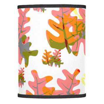 Shades of Orange Fall Colored Leaves Pattern Lamp Shade