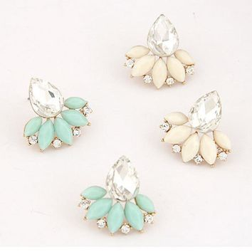 Rhinestone Crystal Drop Stud Earrings