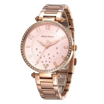 Disney womens Rose gold clock stainless steel quartz ladies watch gold silver Mickey Mouse waterproof Diamond number MK-11053