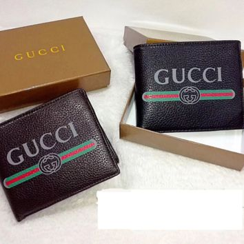 Gucci cross sectional Leather Fashion Wallet [305687953437]