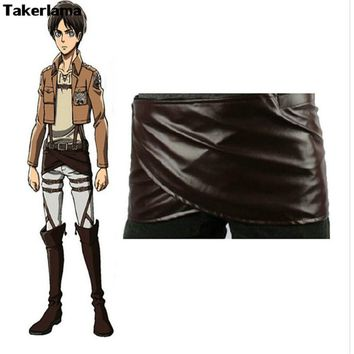 Cool Attack on Titan Takerlama Cosplay  no  Leather Skirt Hookshot Belt Costume Chocolate Leather Apron Belt Skirt AT_90_11