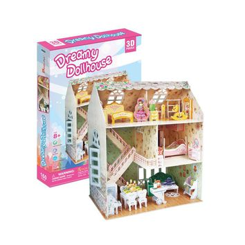 3D Puzzle Toy Dreamy Doll House Furniture and People Interlocking Pieces Educational Toys for Kids Child P645H