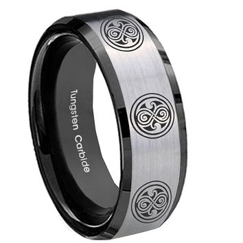 8MM Silver Black Bevel Edges Multiple Doctor Who Tungsten 2 Tone Laser Engraved Ring