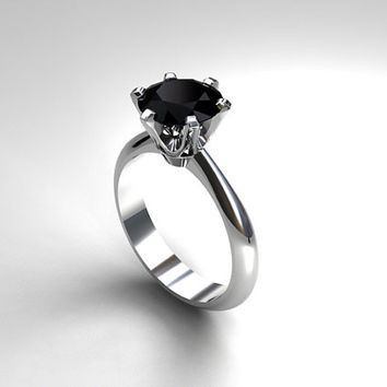 Black spinel engagement ring, white gold, solitaire, black engagement ring, thin, wedding ring, crown setting, spinel solitaire, gothic