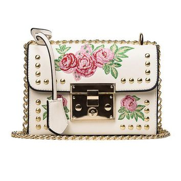 Embroidered Rose Metal Clasp Bag