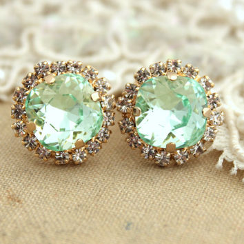Clear Mint green seafoam Crystal stud Petite vintage earring - 14k 1 micron Thick plated gold post earrings real swarovski rhinestones .