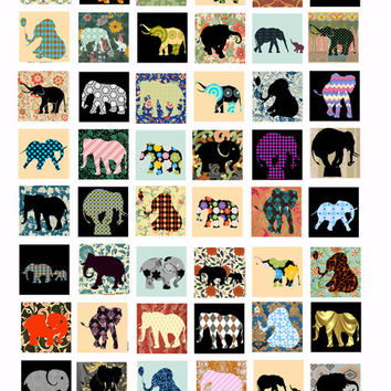 deco elephants clip art collage sheet digital image download 1 inch squares for jewelry pendants pins magnets