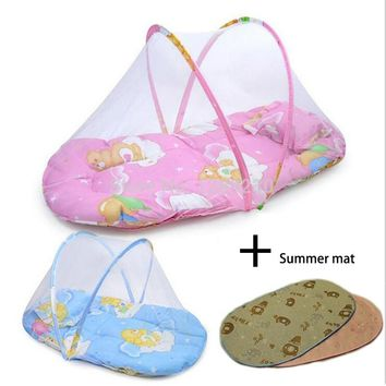 New Summer Baby Crib 0-3 Years Baby Bed With Pillow Sunmer Mat Set Portable Foldable Crib With Netting Newborn Sleep Travel Bed