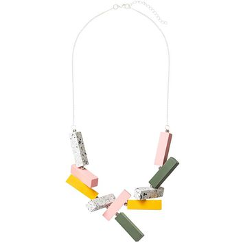 Multi Connected Blocks Necklace | Oliver Bonas