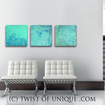 Sea Glass Abstract Painting, ORIGINAL 3 square ( 15 Inch x 15 Inch)  abstract wall art,- green, blue, Sea glass, Ocean water, beach