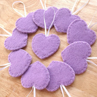 Lavender heart ornaments, purple felt decorations, purple wedding decor, lavender wedding favors, felt hearts, set of 10