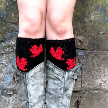 Women's Boot Cuffs Heart, Red Black Heart Knit Boot Toppers, Emofo Heart Boot Tops, Women Accessories, Leg Warmers, Faux Boot Socks, Teens