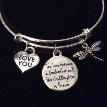 The Love Between a Godmother and Goddaughter is Forever Expandable Charm Bracelet Adjustable Bangle Gift