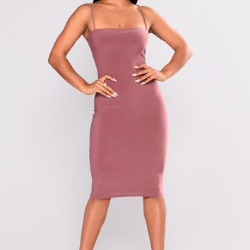 Square Me In Midi Dress - Red Brown