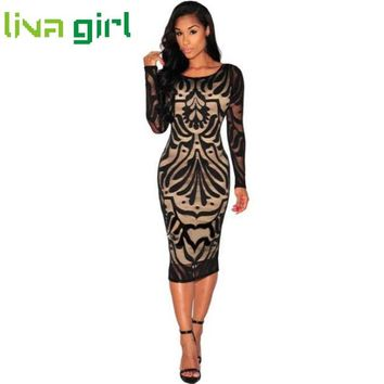 Summer Dress Women Vintage Long Sleeve Lace Dresses Fashion Work Office Lady Skinny Vestido Evening Party Banquet Club Dec288