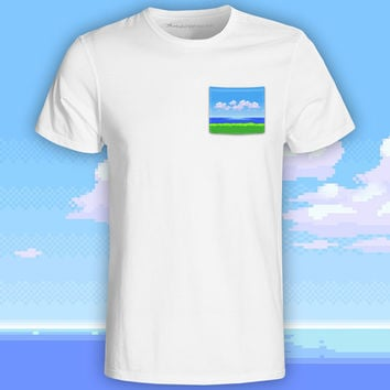 8-Bit Oceanview White Pocket Tee