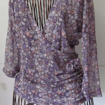 Purple Posies Sheer Purple Blouse Lavender Sheer Blouse Women sz S Junior Small Tops 90s Clothing 90s Shirts