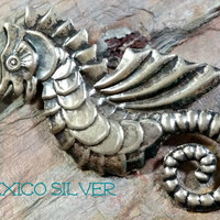 Vintage Mexico Silver Seahorse Brooch Sea Horse By the Sea Beach Party Ocean Side Great Detail Heavy Patina Outstanding Piece of the Past #1