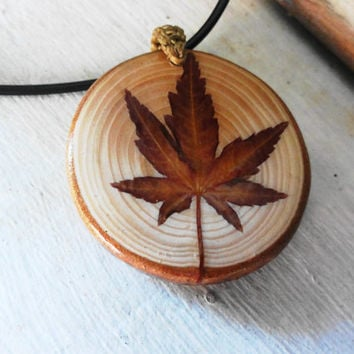Natural maple leaf pendant, Natural pine wood necklace, Pine tree pendant, 100% natural pine tree, Natural ornament, One-of-a-kind necklace