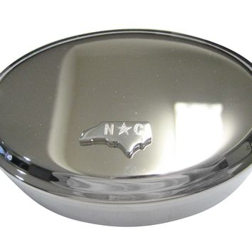 North Carolina State Map Shape and Flag Design Oval Trinket Jewelry Box
