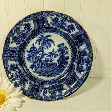 Flow Blue Plate in Kyber Pattern with Maker's Mark W. Adams & Sons England Early Antique Porcelain Blue and White Plate with Heavy Age Wear