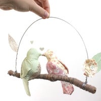 "Modern Love Bird Mobile - ""2 little lovebirds sitting in a tree K-I-S-S-I-N-G""  in rose, cream, mint, and beige"