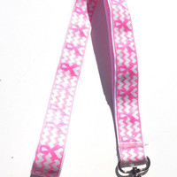 Ribbon Lanyard ID Holder, Pink Ribbon Chevron Stripe, Breast Cancer Awareness, Key Holder
