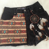High Waisted Tribal & Dream Catcher Shorts