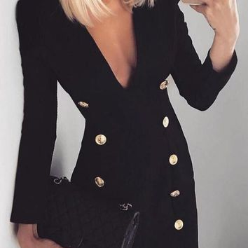 New Black Double Breasted Deep V-neck Long Sleeve Bodycon Office Worker Mini Dress