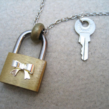 Padlock Necklace - Silver Bow Necklace - Hardware Jewelry