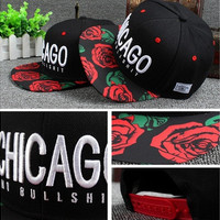 New Letters Embroidery Cayler Chicago Rose Garden Visor Awesome Love Cap Hip Hop Casual Snapback Hats for Men Women bg5 (Color: Black)