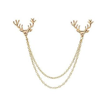 Deer Head Tips Double Link Chains Tassels Collar Pins Brooch Clip Pin Brooches