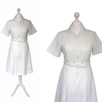 70's Dress - Vintage Nurse Uniform - Health Uniform - NOS - Ivory White Dress - Zip Up Dress - 1970's Vintage Dress