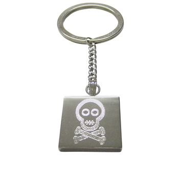 Silver Toned Etched Shy Skull with Crossbones Keychain