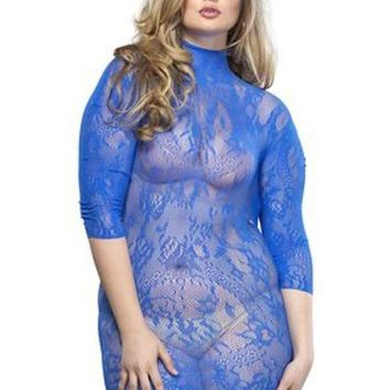 Floral Lace High Neck Mini Dress With 3/4 Sleeve Plus Si Royal Blue